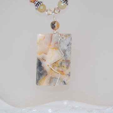 Crazy Lace Agate, Swarovski Crystals and Sterling