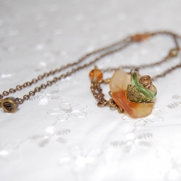 Lampwork Flower, Czech Glass, Swarovski Crystals and Brass