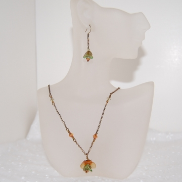 Lampwork Flower, Czech Glass, Swarovski Crystals and Brass