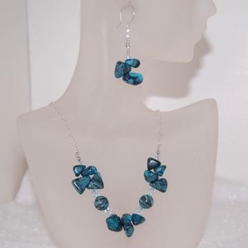 Blue Mexican Zebra Jasper and Swarovski Crystal