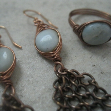 Amazonite and Copper Herringbone Weave with  chain