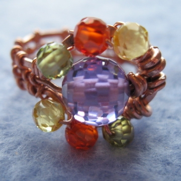 Cubic Zirconia and Weaved Copper Ring