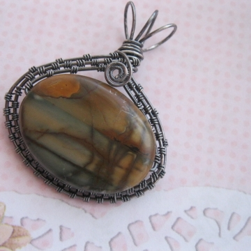 "Scenic Jasper ""Sunset"" Oxidized Sterling Wire-Wrapped Pendant"