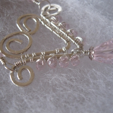 Hand-formed Wire Heart with pink glass crystals